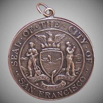 ANTIQUE EDWARDIAN Sterling Silver Pendant - Commemorative Medal, San Francisco, Shreve & Co