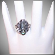 Vintage STERLING SILVER Ring - Abalone, Bell Trading Post, Native American