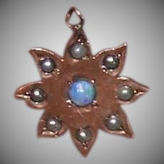 ANTIQUE VICTORIAN 10K Gold Charm - Opal, Natural Pearl, Star