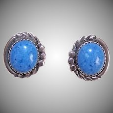Vintage STERLING SILVER Earrings - Native American Design, Sodalite, Studs