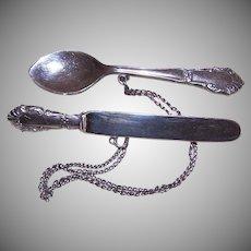 Vintage STERLING SILVER Pin - 2 Piece, Knife, Spoon, Brooch