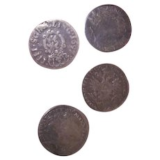 Set/4 Antique Germany Austria Coin Silver Buttons