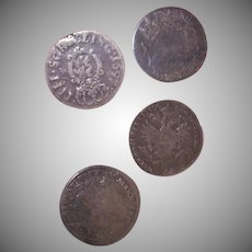 Set/4 C.1697 to 1820 Germany and Austria Coin Silver Buttons - Shank Backs