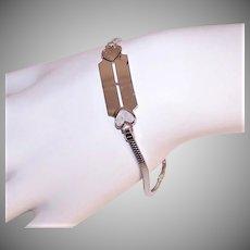 Vintage STERLING SILVER Bracelet - Elco, ID Bracelet, Hearts, Engraveable