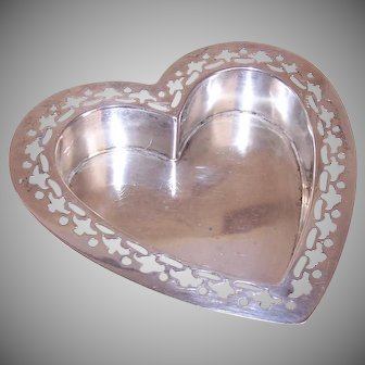 Gorham, Cutwork Pattern, STERLING SILVER, Heart Shaped, Candy Dish, Pin Tray