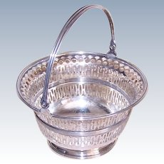 Vintage Sterling Candy Basket with Handle