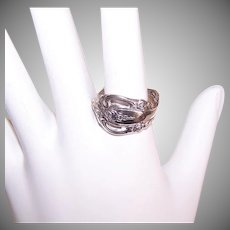 Vintage STERLING SILVER Spoon Ring - Oneida, Michelangelo Pattern, Size 7