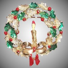 Vintage COSTUME Pin by Gerrys - Christmas Wreath, Red Berries, Holly, Candle