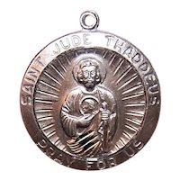 Sterling Silver Saint Jude Thaddeus Religious Medal Pendant