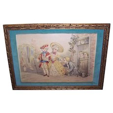 Set/4 C.1930 Framed Prints - Charity, Love, Gratitude, The Duelist, Georgian Theme