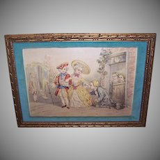 Set/4 C.1930 Framed Prints - Charity, Love, Gratitude, The Duelist, Georgian Theme