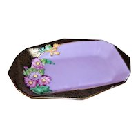 ART DECO English Bone China Pin Tray by Tuscan Plant - Lavender with Black/Gold Time, Lots of Florals