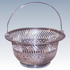 Vintage GORHAM Sterling Silver Candy Basket with Handle, Pierced, Monogram H