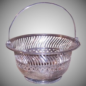 Vintage GORHAM Sterling Silver Candy Basket with Handle, Pierced, Monogram H