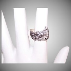 Vintage STERLING SILVER Spoon Ring - Wallace, Romance of the Seas