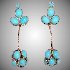 Vintage Costume Earrings - Made in Austria, Faux Turquoise, Clip Back, Drops