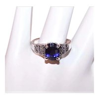 Sterling Silver Marcasite Blue Cubic Zirconia CZ Cocktail Ring