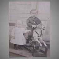 Vintage Photograph - Brother and Sister with Their Rocking Horse