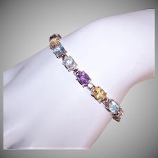 Vintage STERLING SILVER Tennis Bracelet - Faceted Amethyst, Blue Topaz, Citrine, Quartz