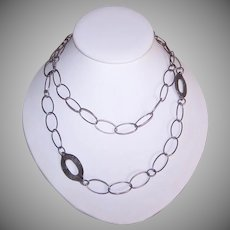 Vintage STERLING SILVER Necklace by Silpada - Hand Hammered Discs, Oval Links