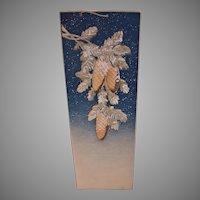 Vintage Calendar Back Pad - Embossed Pine Cones, Christmas Scene