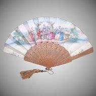 French Antique Sandalwood Fan