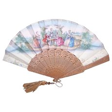 ANTIQUE FRENCH Sandalwood Fan - Mother of Pearl Button, Double Sided, Regency Scenes