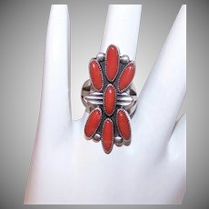 Vintage STERLING SILVER Ring - Red Coral, Native American, Multi Stone