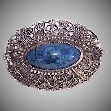 Art Nouveau STERLING SILVER Pin - Blue Sodalite, Filigree Design, Oval, Brooch