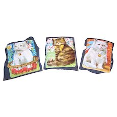 3 ART DECO Die Cuts - Colorful Cats with a Louis Wain Look