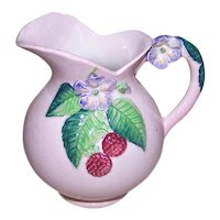 Vintage CARLTON WARE Cream Pitcher - Pink with Lavender Flowers, Raspberries