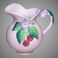 Vintage CARLTON WARE Cream Pitcher - Pink with Lavender Flowers, Raspberries
