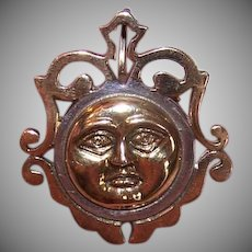 Vintage STERLING SILVER Pin - Vermeil, Sun Face, Made in Mexico, Mexican, Pendant