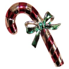 Christmas Gold Tone Costume Pin by Gerrys - Red & Green Candy Cane