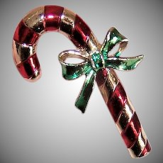 Vintage COSTUME Pin by Gerrys - Christmas, Candy Cane, Red, Green, Yellow Gold