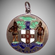 Vintage STERLING SILVER Charm - Enamel, Seal of Jamaica, Souvenir of Travel