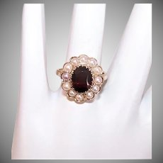 Vintage 9K GOLD Ring - Faceted Garnet, Cultured Pearls, Princess Diana Engagement Ring Style