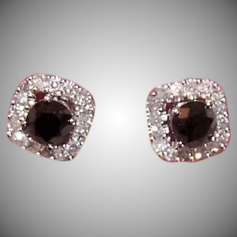 Vintage 14K GOLD Earrings - .90CT TW Black Diamond Studs, .32CT TW Clear Diamond Earring Jackets