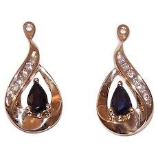 14K Gold Earring Sapphire Diamond Jackets
