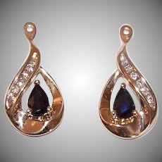 Vintage 14K GOLD Earring Jackets - 1.12CT TW Diamond, Sapphire, Drops