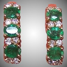 Vintage 14K GOLD Earrings - 1.36CT TW Natural Emerald, Diamond, Pierced Studs, Posts with Nuts