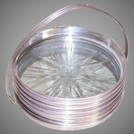 6 Sterling Silver Rimmed Glass Coasters with Caddy
