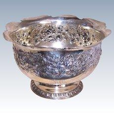 Huge Gorham Repousse Sterling Silver Bowl