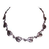 Danecraft Sterling Silver Single Leaf Link Necklace - Modernist Design