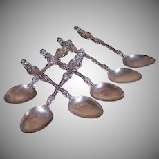 6 Whiting Sterling Silver Lily Spoons