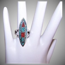 Sterling Silver Turquoise Coral Ring