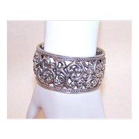 Sterling Silver Cuff Bracelet - Curlicue Cutwork Design