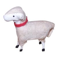 Vintage Made in Germany Putz Sheep - Wood and Wool