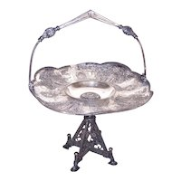 Victorian Aesthetic Silverplate Cake Basket with Handle - Grecian Lady Design