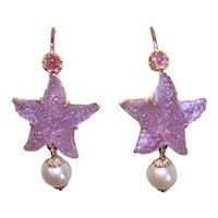 Tagliamonte Italy 14K Gold Amethyst Venetian Glass Starfish Earrings with Drop Pearls